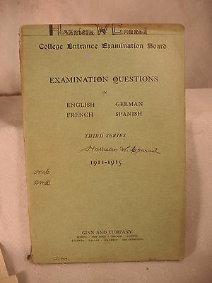 College Entrance Examination Board antique old 1911-1915 english german french s