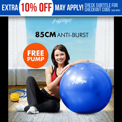 New HPF 85cm Yoga Gym Exercise Ball Pilates Swiss Fitness Workout Blue Foot Pump