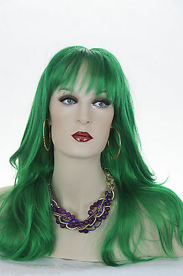 Dark Green Blonde Long Straight Skin Top Wigs