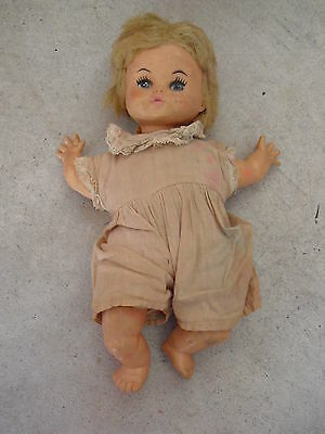 "Vintage 1968 Horsman Vinyl and Cloth Baby Girl Doll  10"" Tall"