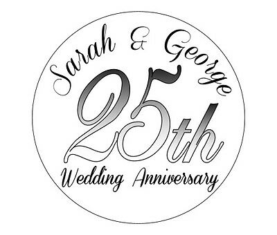 70 Personalised Round Wedding Anniversary Stickers/Labels 3 FOR 2 Envelope Seals