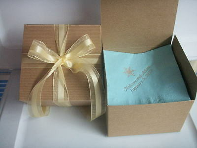50 PERSONALIZED BEVERAGE cocktail NAPKINS in a gift box with a bow