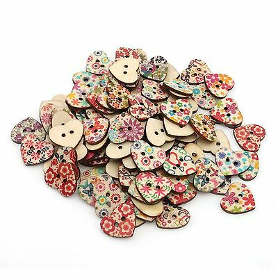 Wholesale 500x Mixed Printed Flower Heart Wood Sewing Button Scrapbooking 111621