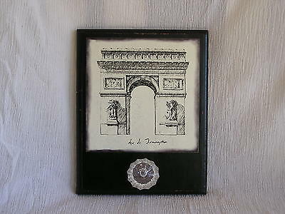Arc de Triomphe Black White French Wall Art Jewelry Key Holder w/ Knob Paris