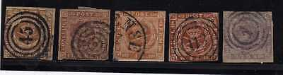 Lot 5 Timbres Anciens Danemark Europe