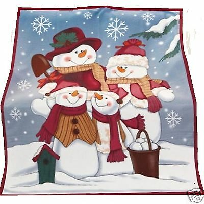 """SNOWMAN FAMILY FLEECE TRIMMED THROW WINTER BLANKET 50"""" x 60"""" NEW Fast Shipping"""
