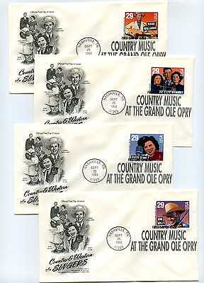 2775-78 Country & Western Singers, booklet pane, Artcraft set of 4, FDCs