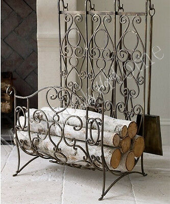 Neiman Marcus FRENCH Iron LOG RACK Holder Fireplace Hearth Tool Set Brass Scroll