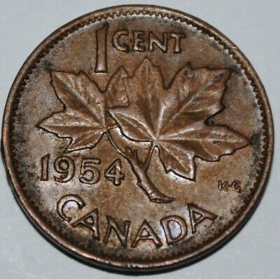 Canada 1954 SF 1 Cent Copper One Canadian Penny Coin