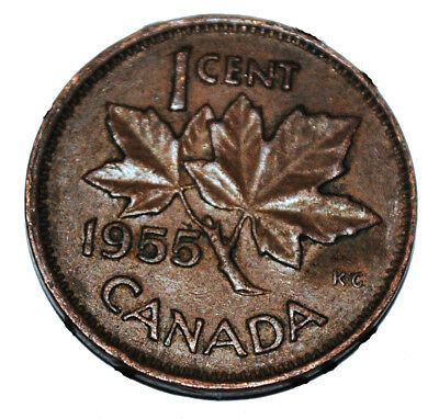 Canada 1955 SF 1 Cent Copper One Canadian Penny Coin