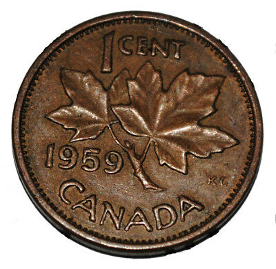 Canada 1959 1 Cent Copper One Canadian Penny Coin