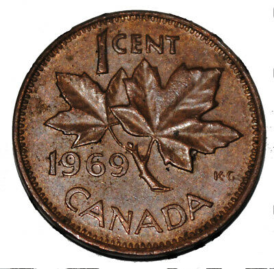 Canada 1969 1 Cent Copper One Canadian Penny Coin