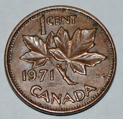 Canada 1971 1 Cent Copper One Canadian Penny Coin