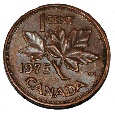 Canada 1975 1 Cent Copper One Canadian Penny Coin