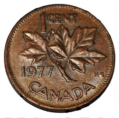 Canada 1977 1 Cent Copper One Canadian Penny Coin