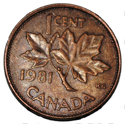 Canada 1981 1 Cent Copper One Canadian Penny Coin