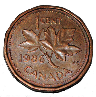 Canada 1986 1 Cent Copper One Canadian Penny Coin