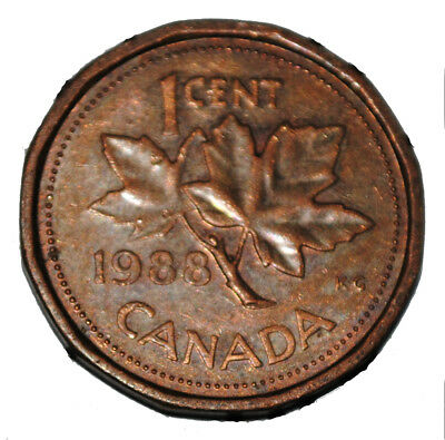Canada 1988 1 Cent Copper One Canadian Penny Coin
