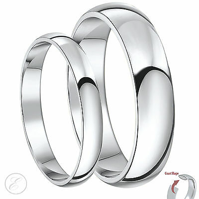 New His & Hers Palladium 950 Wedding Ring Sets 3&5mm, 4&6mm, 5&7mm Court Bands