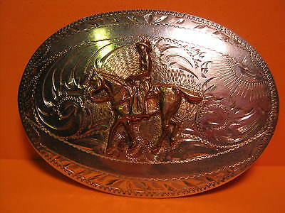 Old Sterling Silver Front TexTan Hand Engvd HORSE & RIDER Belt Buckle MAKE OFFER