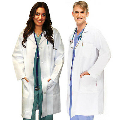 Medical White Unisex Lab Coats Uniform For Men Women Lab Coat Long Sleeve Jacket