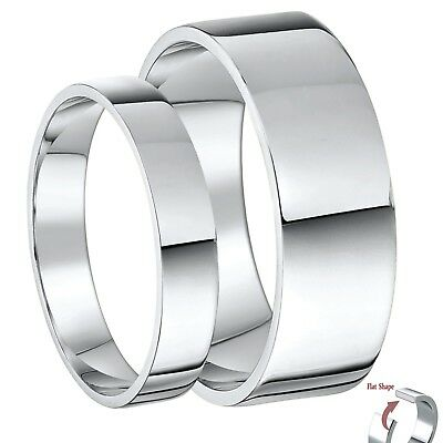 His & Hers 9ct White Gold Flat Shaped Wedding Ring Sets 3&5mm, 4&6mm