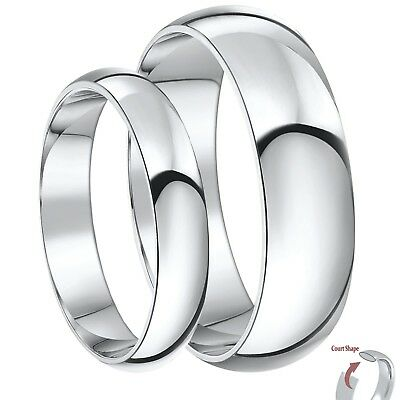9ct White Gold Rings His & Hers Court Shaped Wedding Ring Sets 3&5mm, 4&6mm
