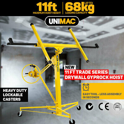 Unimac 11ft Gyprock Sheet Drywall Panel Lifter Plaster Board Hoist Lift 68kg