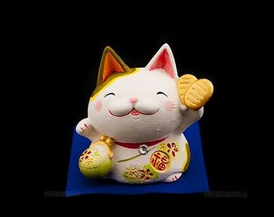 Tirelire Chat Porte Bonheur Japonais Maneki Neko Ceramique Made In Japan  314