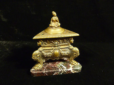 19Th Century Bronze Claw Footed Egyptian Revival Incense Burner On Marble Base