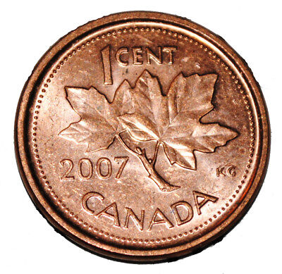 Canada 2007 L 1 Cent Steel One Canadian Penny Coin Logo M  Magnetic