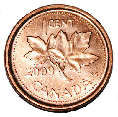 Canada 2009 L 1 Cent Steel One Canadian Penny Coin Logo M  Magnetic