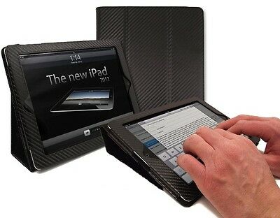 NEW iPAD 4 3 2 BLACK CARBON FIBRE LEATHER CASE - STAND AND TYPE