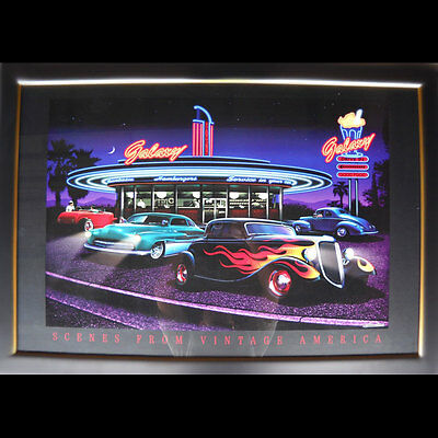 Galaxy Hot Rod chopped Framed and Under Glass Chevy 50's  Diner Drive In