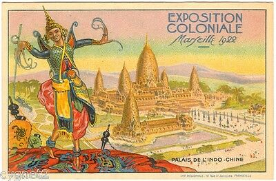 Postcard French 1922 Colonial Exposition Marseille Indo-China Palace