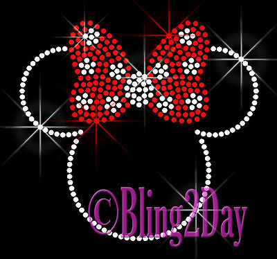 "Minnie Mouse Polka Dot Bows 5.5"" X 5"" Rhinestone Iron on Transfer Hot Fix Bling"