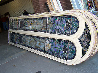 Monumental Group (5) Arched Top Leaded Stained Glass Windows & Frames 15 x 41/2'
