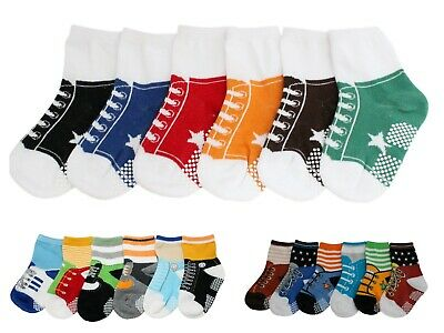 Baby Boys Kids Toddlers Anti Slip Ankle Socks 6 pack Stars Shoe-like Age 1 2 3