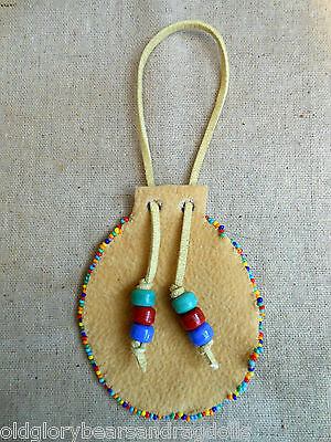 New Accessory, Medicine, Storage, Ditty Bag for Bear or Doll- Faux Suede & Beads