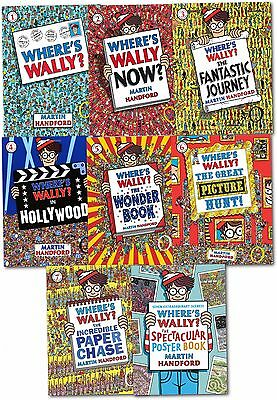 Where's Wally? 8 Books Collection Set The Solid Gold Sticker Poster Brand NEW