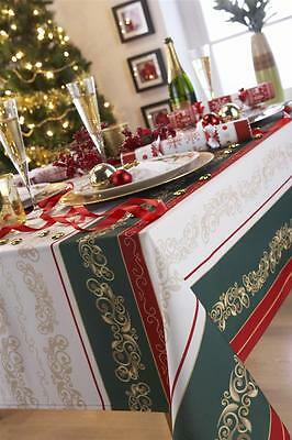 """Traditional Christmas Tablecloths In Red Greeen Cream & White 52 x 52""""  70 x 90"""""""