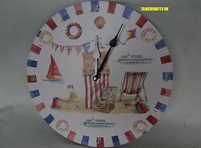 "12"" Wooden Seaside Themed Wall Clock With Punch & Judy By Leonardo Collection"