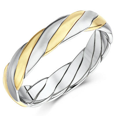New 9ct Gold Two Colour Twist Design Wedding Ring Band 4mm, 5mm