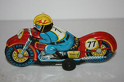 Tin Thunder Bird Race Motorcycle #77 made in Japan in 1950's