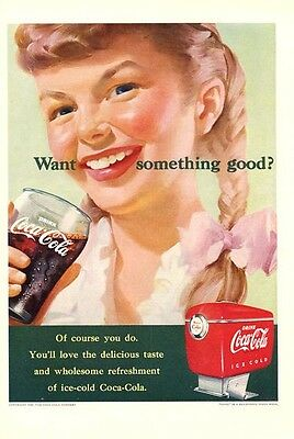 1951 Coca~Cola Coke Girl in Pigtails PRINT AD
