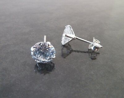 925 Sterling Silver Mens Round CZ Cubic Zirconia Single Stud Earring 3mm-7mm