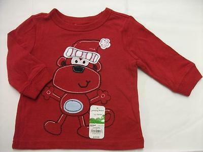 NEW Baby Boys Christmas Long Sleeve Shirt 9 Months Top Monkey Santa Red Holiday