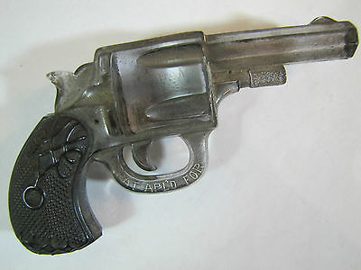 Antique 19c Glass Gun Pistol fabulous ornate detailing black grips silver body