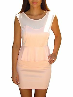 baby Pink Plunge Peplum Cut Out Backless Bodycon Mini Dress BNWT (12)