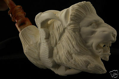LION in CLAW  Hand Carved Block Meerschaum Pipe in a fitted CASE 3924 pipa 海泡石斗